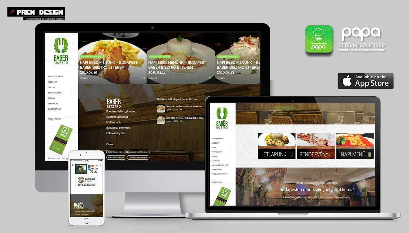 Budapest weboldal készítés – Étterem webdesign
