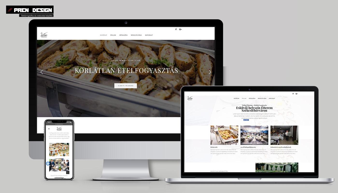 Letisztult étterem bemutatkozó weboldal