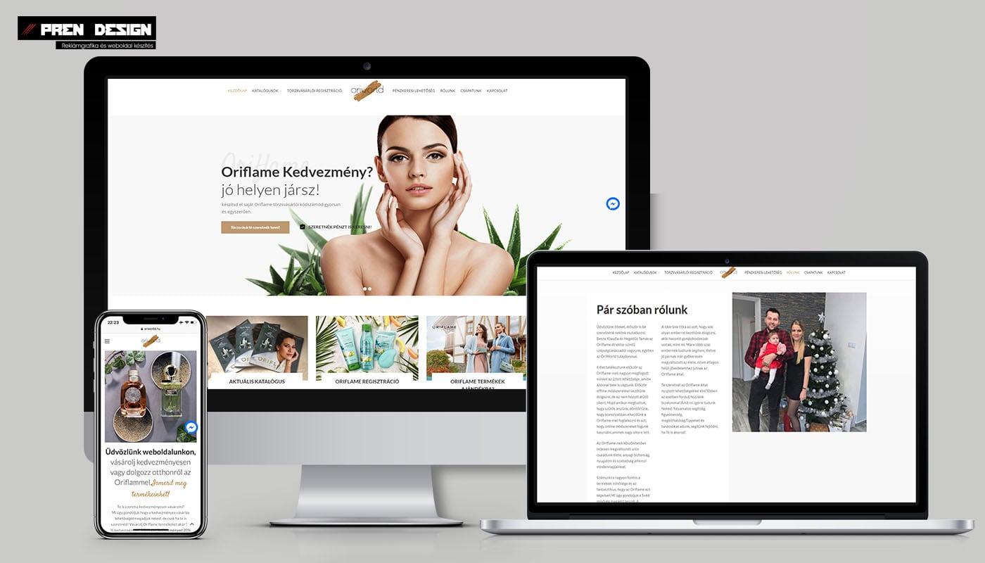 Weboldal készítés Oriflame szépség tanácsadóknak