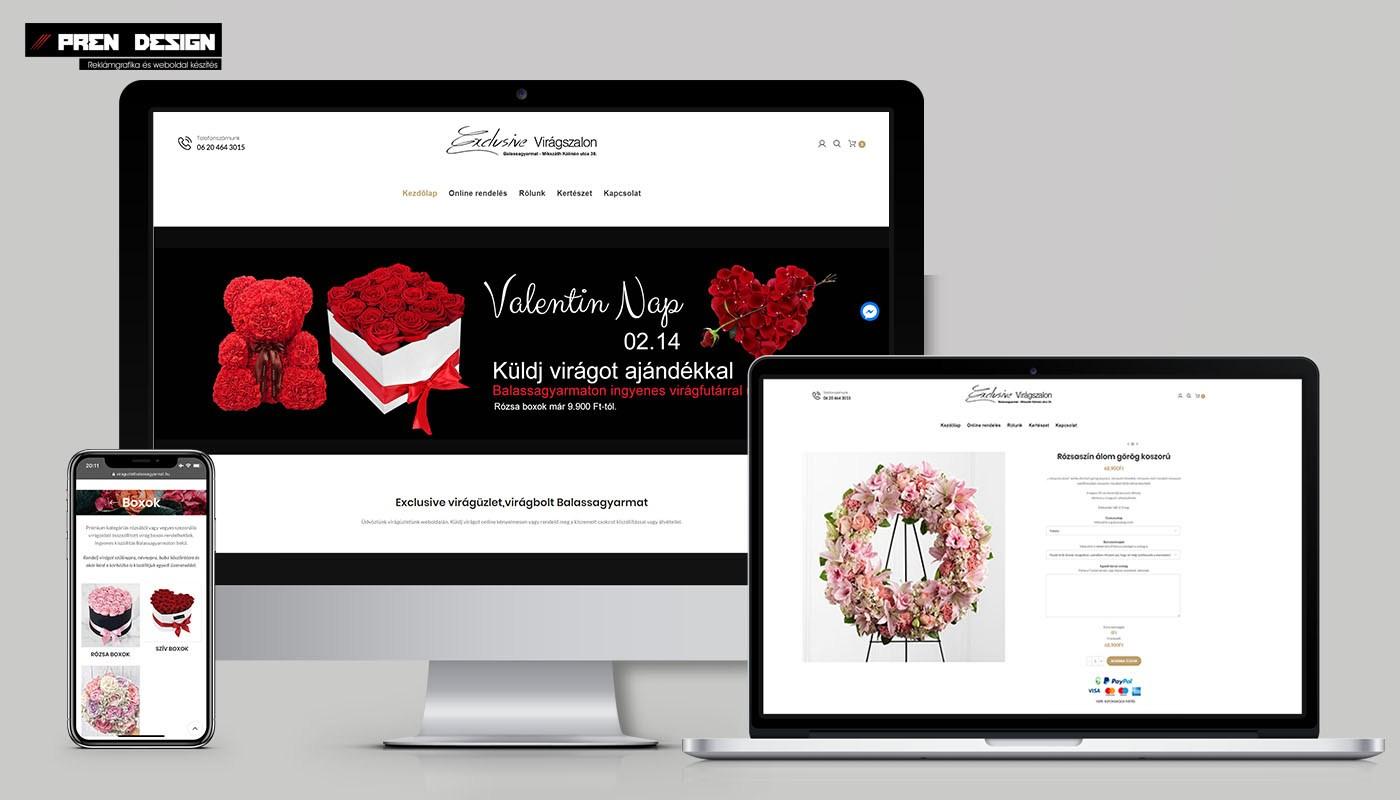 Weboldal készítés Virágüzlet – Online virágrendelés webáruház
