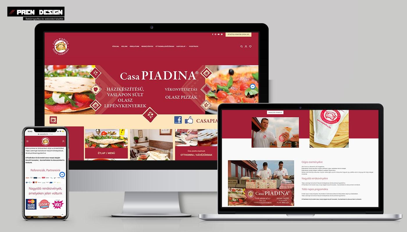 Olasz étterem weboldal készítés - Casa Piadina
