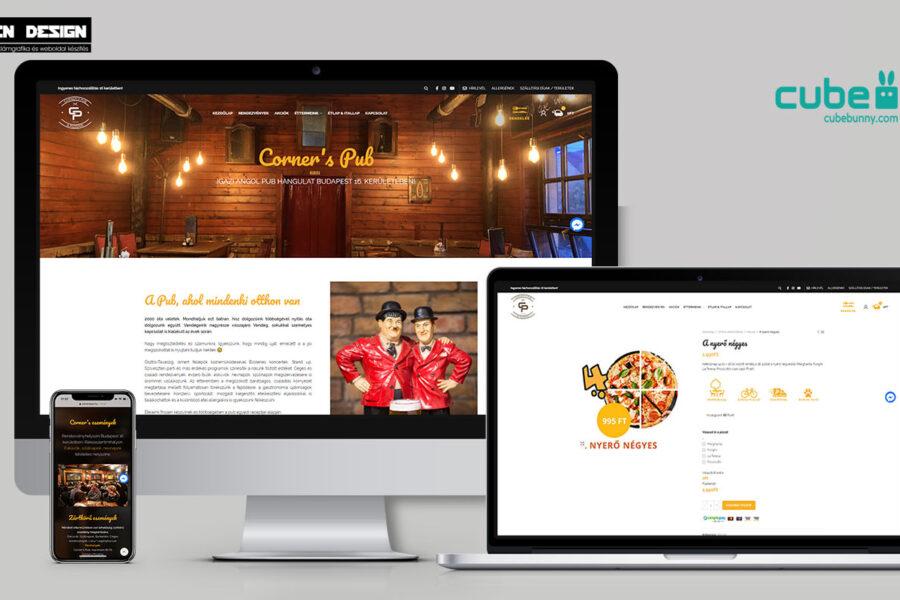 Corners étterem és pizzéria weboldal készítés – Pizzéria webshop készítés