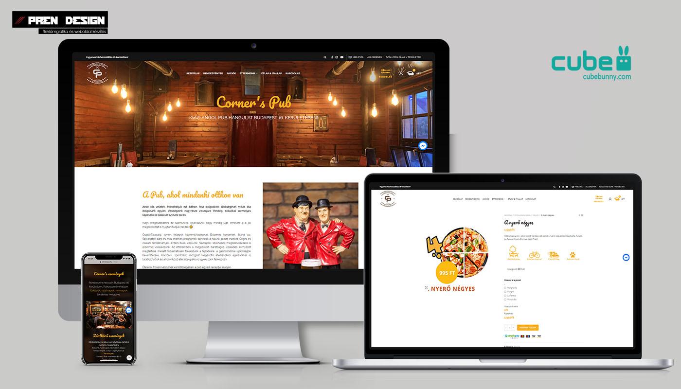 Corners pub és pizzéria weboldal készítés - Pizzéria webshop készítés
