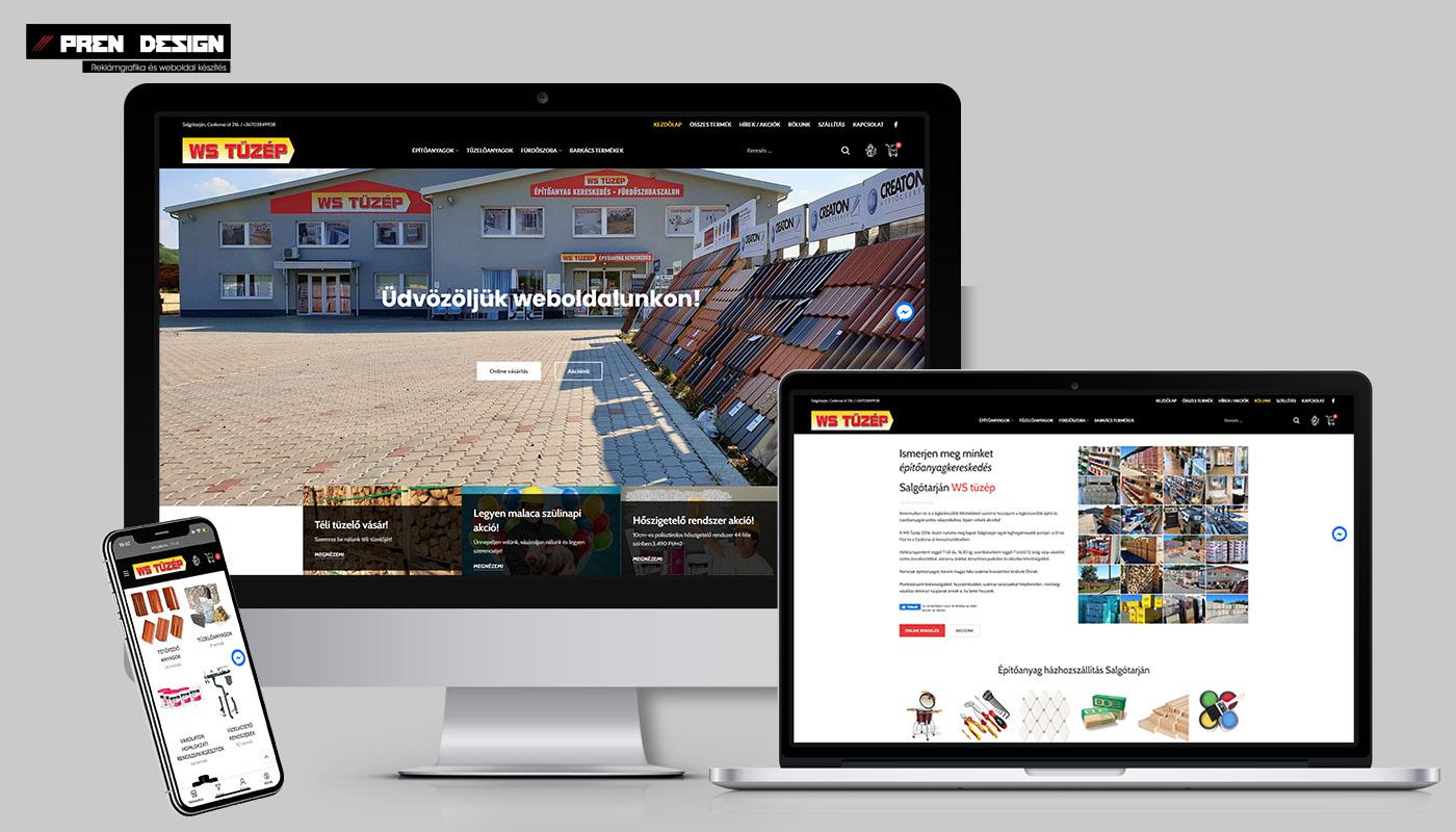 Tüzép webáruház készítés és weblap